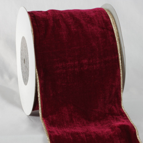 "Burgundy Red and Gold Colored Wired Soft Velvet Ribbon 6"" x 20 Yards - IMAGE 1"