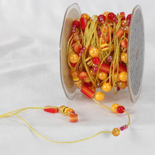 "Orange and Yellow Colorado Garland Beads Ribbon 0.25"" x 27 Yards - IMAGE 1"