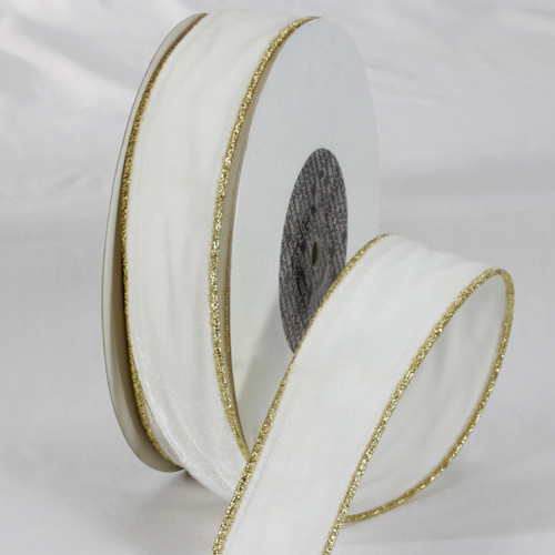"""Ivory and Gold Colored Woven Edge Soft Velvet Ribbon 2"""" x 20 Yards - IMAGE 1"""