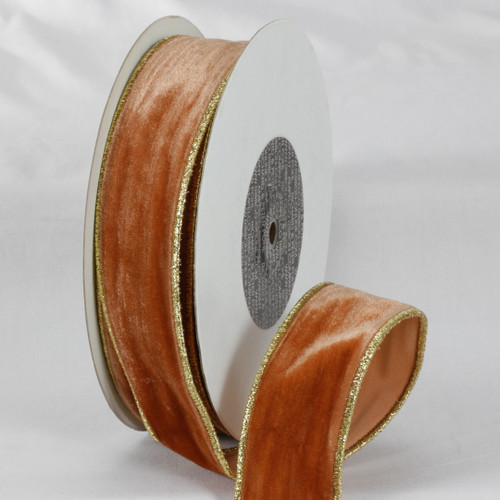 """Amber Brown and Gold Colored Woven Edge Soft Velvet Ribbon 2"""" x 20 Yards - IMAGE 1"""