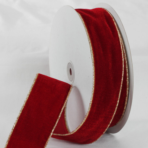 "Scarlet Red and Gold Colored Woven Edge Soft Velvet Ribbon 2"" x 20 Yards - IMAGE 1"