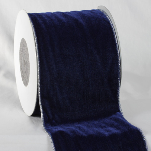"Navy Blue and Silver Colored Woven Edge Soft Velvet Ribbon 6"" x 20 Yards - IMAGE 1"