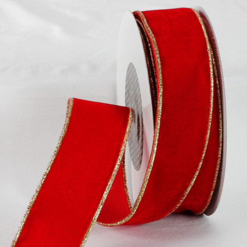 "Red and Gold Colored Woven Edge Soft Velvet Ribbon 2"" x 20 Yards - IMAGE 1"