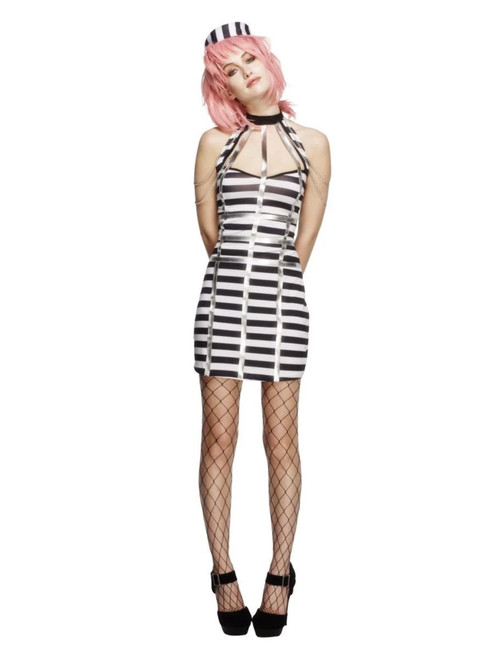 "48"" Black and White Fever Night Criminal Women Adult Halloween Costume - Large - IMAGE 1"