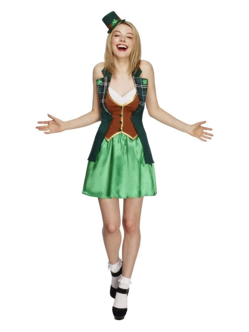 """49"""" Green and Brown Fever Women Adult Saint Patrick's Costume - XS - IMAGE 1"""