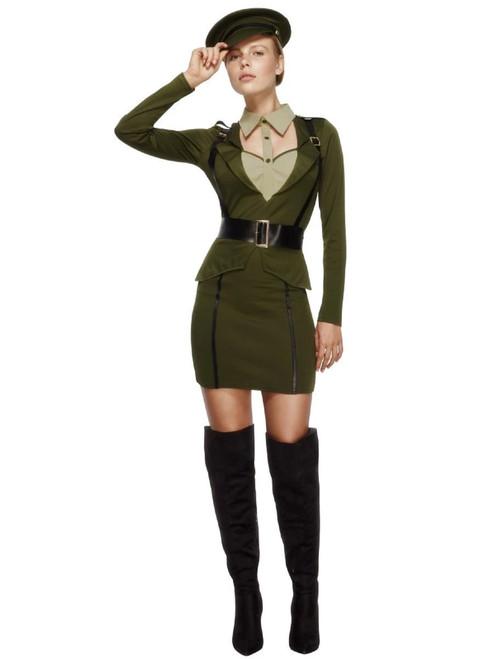 "39"" Khaki Green Captain Women Adult Halloween Costume - XS - IMAGE 1"