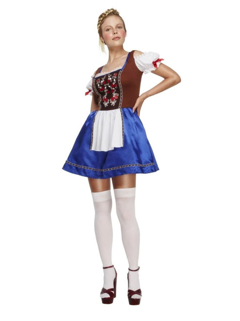 """49"""" Brown and Navy Blue Dirndl Women Adult Halloween Costume - Large - IMAGE 1"""
