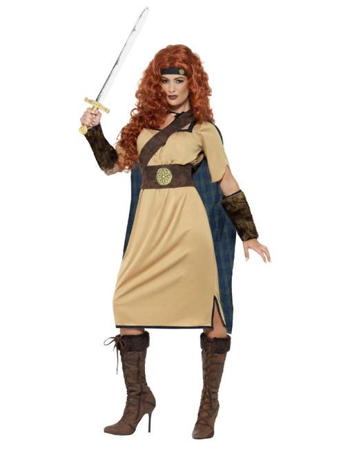 """49"""" Beige and Brown Warrior Queen Deluxe Women Adult Halloween Costume - Small - IMAGE 1"""