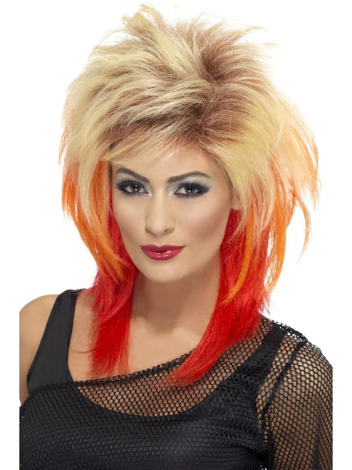 """26"""" Blonde and Red Streaks 1980's Style Long Mullet Women Adult Halloween Wig Costume Accessory - One Size - IMAGE 1"""
