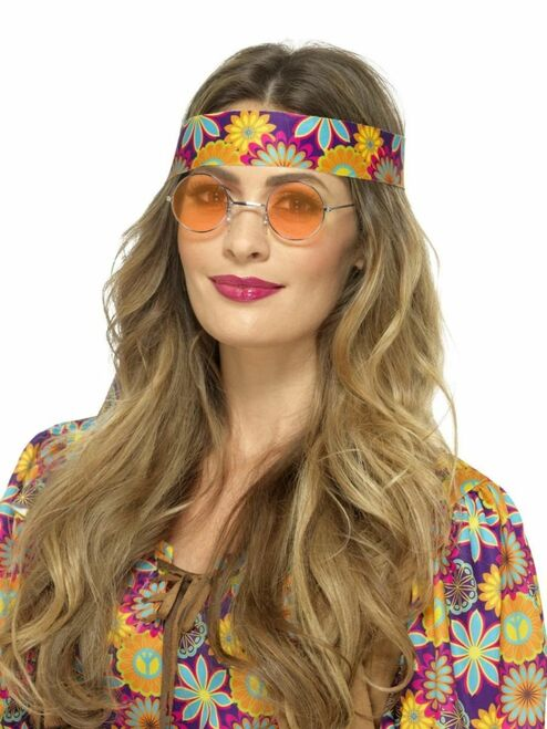 "17"" Orange 1960's Style Unisex Adult Hippie Specs Halloween Costume Accessory - One Size - IMAGE 1"