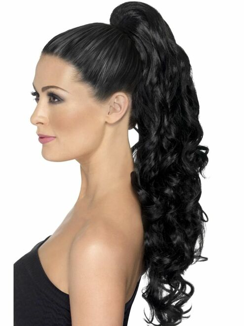 """26"""" Black Curly on Clip Divinity Women Adult Halloween Hair Extension Costume Accessory - One Size - IMAGE 1"""