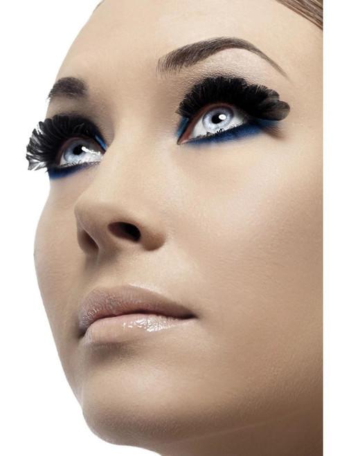 """11"""" Black Feather Women Adult Halloween Eyelashes Costume Accessory - One Size - IMAGE 1"""