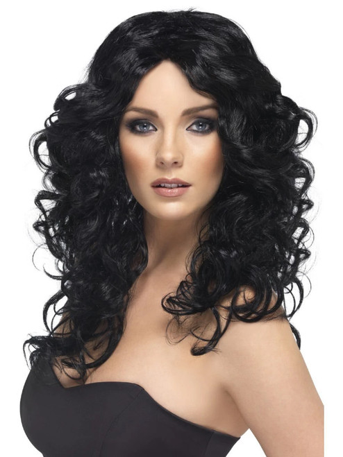 """26"""" Black Glamour Shiny Long Curly and Wavy Women Adult Halloween Wig Costume Accessory - One Size - IMAGE 1"""