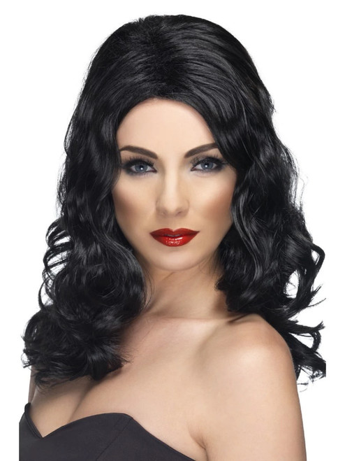 """26"""" Black Glamorous Silky Long And Wavy Women Adult Halloween Wig Costume Accessory - One Size - IMAGE 1"""