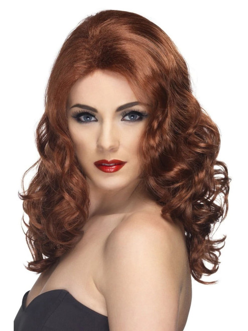 """26"""" Brown Glamorous Long Curly Women Adult Halloween Wig Costume Accessory - One Size - IMAGE 1"""