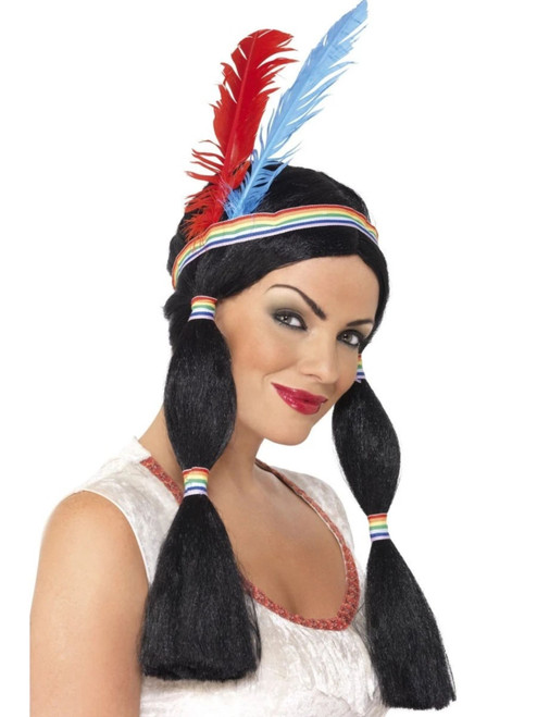 "26"" Black Cowboys and Indians Native American Inspired Princess Women Adult Halloween Wig Costume Accessory - One Size - IMAGE 1"