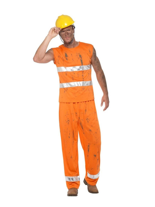 "42"" Orange and White Miner Men Adult Halloween Costume - Medium - IMAGE 1"