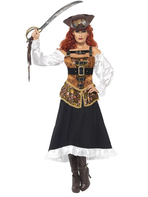 "49"" Black and White Steam Punk Pirate Wench Women Adult Halloween Costume - Small - IMAGE 1"