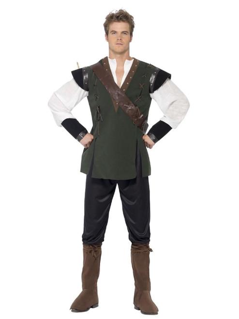 "49"" Green and Black Robin Hood Men Adult Halloween Costume - Medium - IMAGE 1"