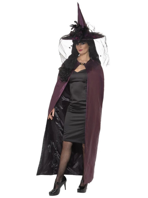 """49"""" Black and Purple Women Adult Halloween Reversible Cape Costume Accessory - One Size - IMAGE 1"""