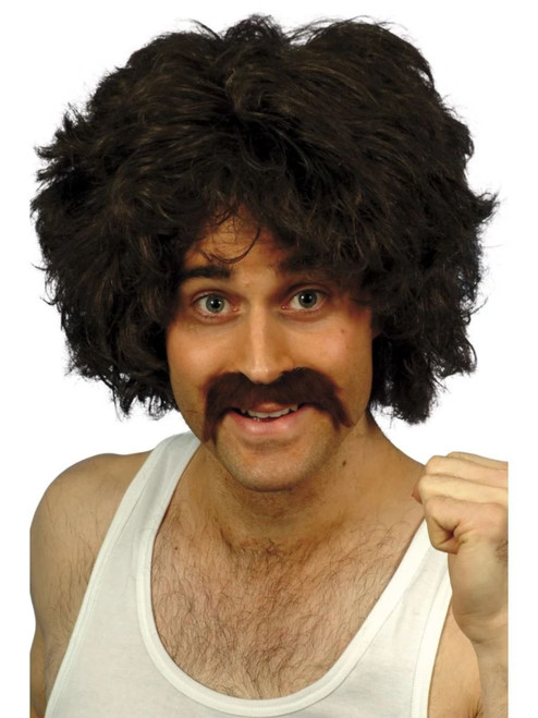 """26"""" Brown and Black 1980's Style Retro Wig and Tash Men Adult Halloween Costume Accessory - One Size - IMAGE 1"""