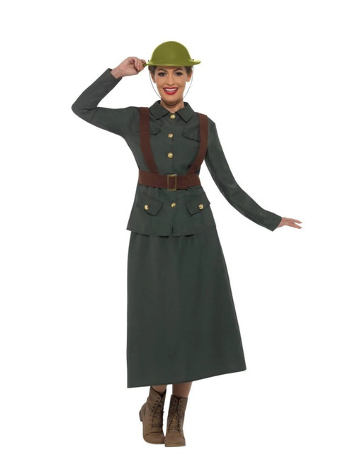 "49"" Green and Brown 1940's Army Warden Women Adult Halloween Costume - Medium - IMAGE 1"