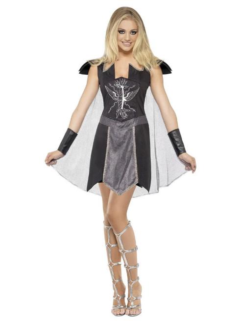 "50"" Black and Gray Dark Warrior Women Adult Halloween Costume - Small - IMAGE 1"