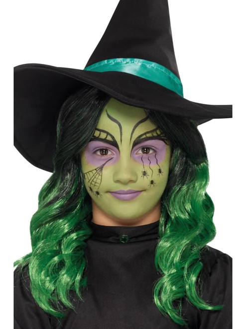 """20"""" Green and Black Kids Witch Halloween Women Adult Make-Up Kit - IMAGE 1"""