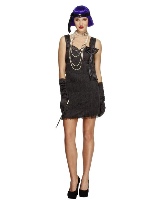 """49"""" Black 1920's Style Fever Flapper Foxy Women Adult Halloween Costume - Large - IMAGE 1"""