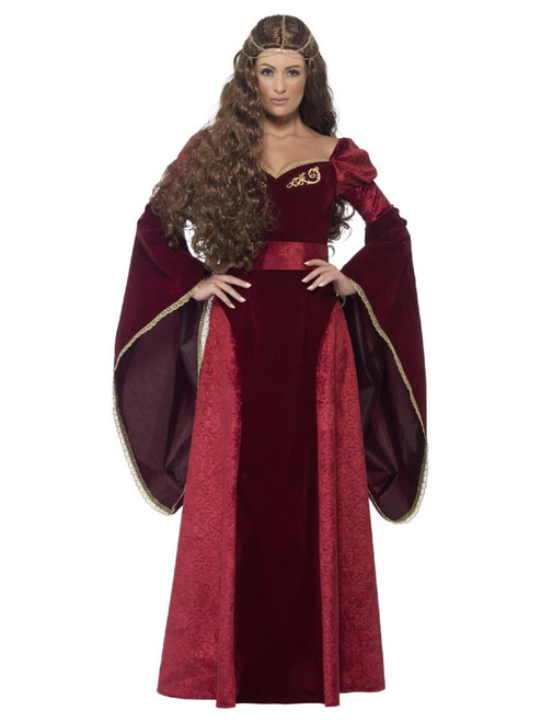 """49"""" Red and Gold Deluxe Medieval Queen Women Adult Halloween Costume - Medium - IMAGE 1"""
