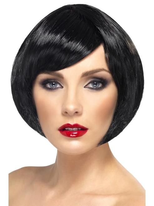 """26"""" Black Short Bob with Fringe Women Adult Halloween Babe Wig Costume Accessory - One Size - IMAGE 1"""