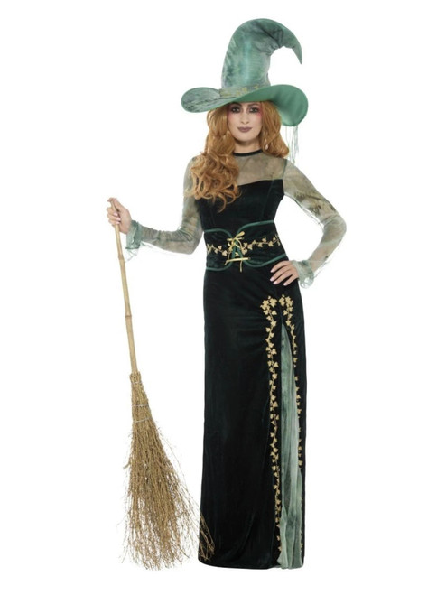 """40"""" Green and Gold Deluxe Emerald Witch Women Adult Halloween Costume - Medium - IMAGE 1"""