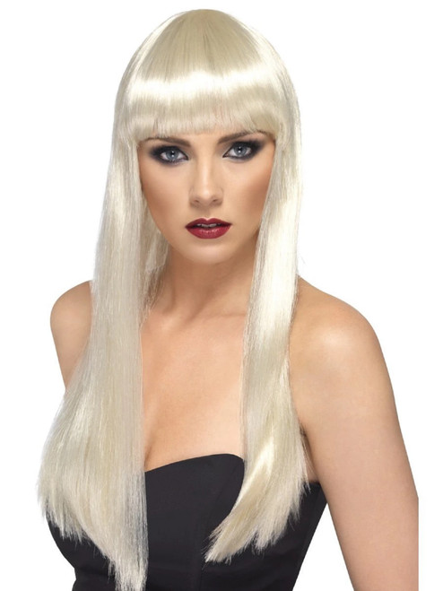 "26"" Blonde White Beauty Straight Long Hair Women Adult Halloween Wig Costume Accessory - One Size - IMAGE 1"