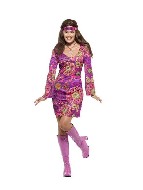 """40"""" Purple and Pink Hippie Chick Women Adult Halloween Costume - Small - IMAGE 1"""