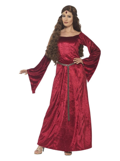 """42"""" Red Medieval Maid Women Adult Halloween Costume - Large - IMAGE 1"""
