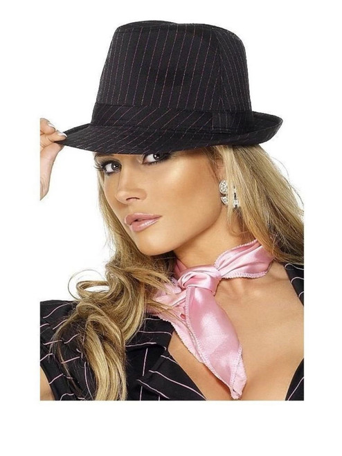 """28"""" Black and Pink Fever Gangster Women Adult Halloween Trilby Hat Costume Accessory - One Size - IMAGE 1"""