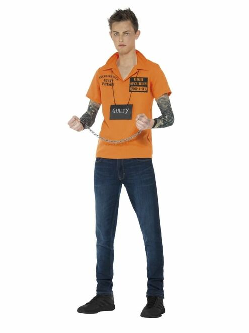 """44"""" Black and Orange Convict Instant Boy Teen Halloween Kit Costume Accessory with Chain - Small - IMAGE 1"""
