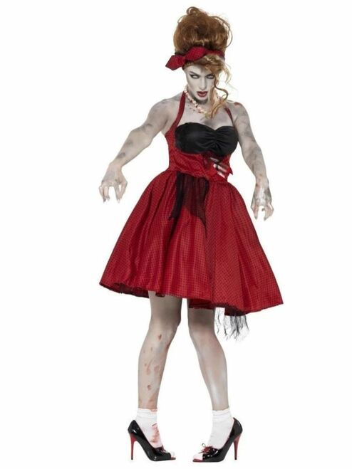 """42"""" Red and Black Zombie 50s Rockabilly Women Adult Halloween Costume - Large - IMAGE 1"""
