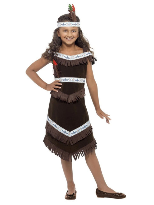 """49"""" Brown and White Native American Inspired Girl Child Halloween Costume - Small - IMAGE 1"""
