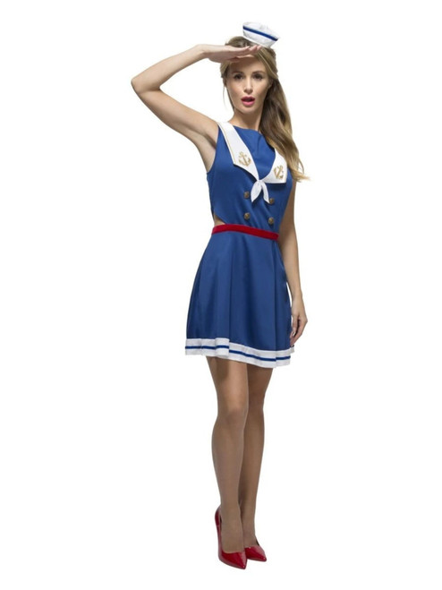 """49"""" Blue and White Fever Sailor Women Adult Halloween Costume - Small - IMAGE 1"""