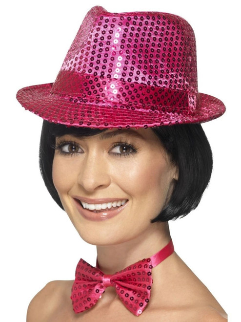 """36"""" Pink Sequin Trilby Unisex Adult Halloween Hat Costume Accessory - One Size - IMAGE 1"""