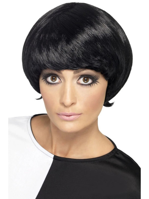 """26"""" Black 1960 Style Psychedelic Short Bob Women Wig Halloween Costume Accessory - One Size - IMAGE 1"""