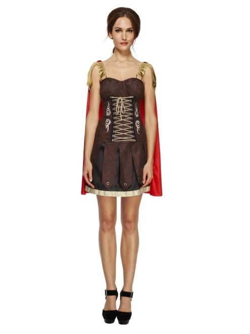 """49"""" Brown and Red Fever Gladiator Women Adult Halloween Costume - Large - IMAGE 1"""
