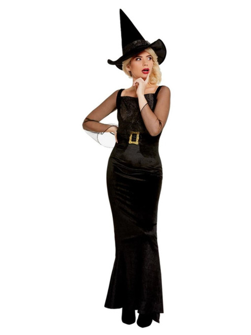 """40"""" Black Glam Witch Women Adult Halloween Costume - Large - IMAGE 1"""
