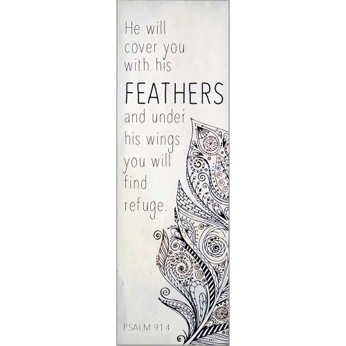 """18"""" White and Black Feathers Themed Rectangular Wall Plaque - IMAGE 1"""