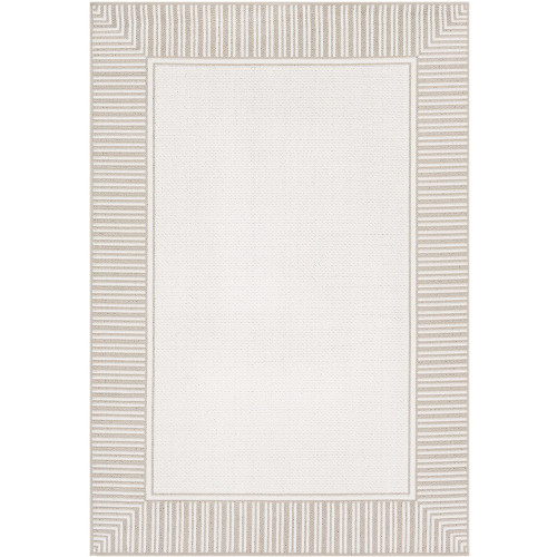 """2'3"""" x 7'9"""" Alfresco White and Ivory Striped Borderline Pattern Synthetic Area Rug - IMAGE 1"""