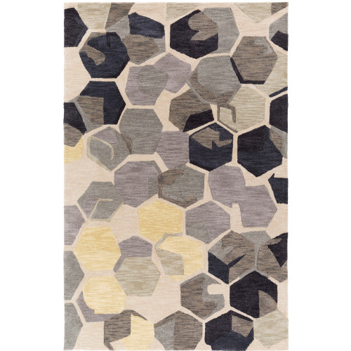 8' Geometric Hexagon Pattern Beige and Gray Square Polyester Area Throw Rug - IMAGE 1