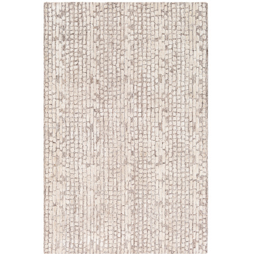 4' x 6' Geometric Pattern Ivory and Brown Hand Tufted Rectangular Area Throw Rug - IMAGE 1