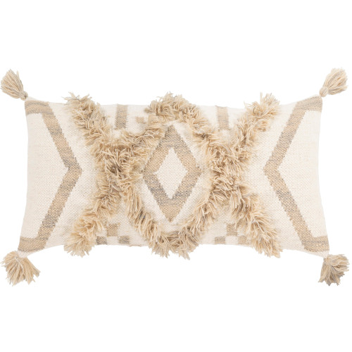 """30"""" White and Ivory Diamond Patterned with Tassels Rectangular Throw Pillow Cover - IMAGE 1"""