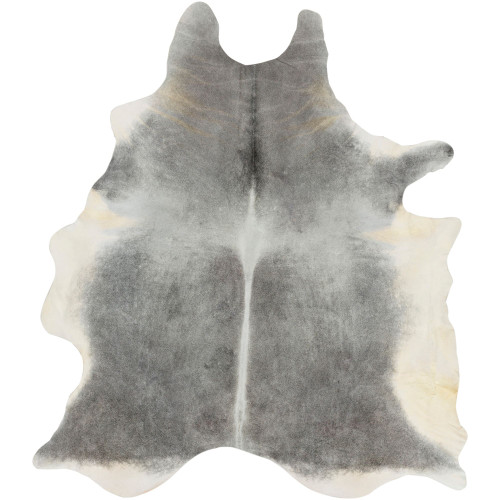 5' x 7' Cowhide Black and Cream White Handcrafted Area Throw Rug - IMAGE 1